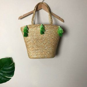 Wicker Woven Tote Bag with Ombré Green Tassels